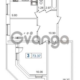Продается квартира 3-ком 73.37 м² Пулковское шоссе 40к 2, метро Звездная