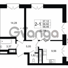 Продается квартира 2-ком 56.92 м² улица Малая Зеленина 1, метро Чкаловская