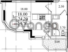 Продается квартира 1-ком 23.8 м² Бестужевская улица 5к 1, метро Лесная