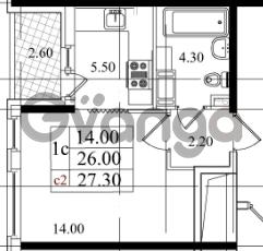 Продается квартира 1-ком 26 м² Бестужевская улица 5к 1, метро Лесная