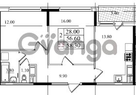 Продается квартира 2-ком 56.6 м² Бестужевская улица 5к 1, метро Лесная
