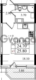 Продается квартира 1-ком 24.3 м² Бестужевская улица 5к 1, метро Лесная