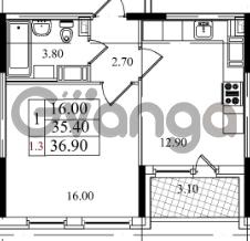 Продается квартира 1-ком 35.4 м² Бестужевская улица 5к 1, метро Лесная