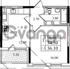Продается квартира 1-ком 34.5 м² Бестужевская улица 5к 1, метро Лесная