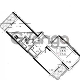 Продается квартира 1-ком 54.5 м² Бестужевская улица 5к 1, метро Лесная