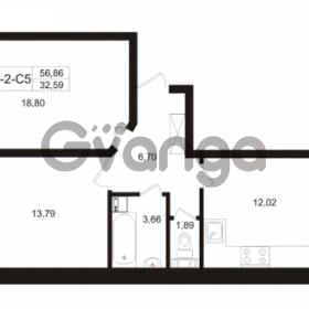 Продается квартира 2-ком 56.86 м² Пугаревская улица 1, метро Ладожская