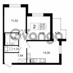 Продается квартира 2-ком 49.61 м² Европейский проспект 14, метро Улица Дыбенко