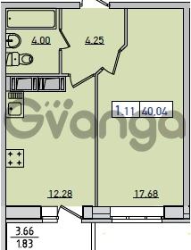 Продается квартира 1-ком 40.04 м² Новая улица 6, метро Девяткино