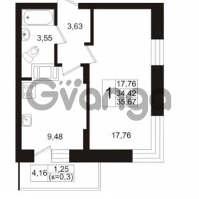 Продается квартира 1-ком 35.67 м² Европейский проспект 1, метро Улица Дыбенко