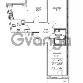 Продается квартира 2-ком 61.83 м² Юнтоловский проспект 53к 4, метро Старая деревня