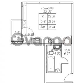 Продается квартира 1-ком 33.74 м² Юнтоловский проспект 53к 4, метро Старая деревня