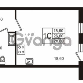 Продается квартира 1-ком 26.61 м² Бестужевская улица 5к 1, метро Лесная
