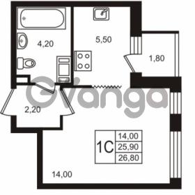 Продается квартира 1-ком 25.91 м² Бестужевская улица 5к 1, метро Лесная