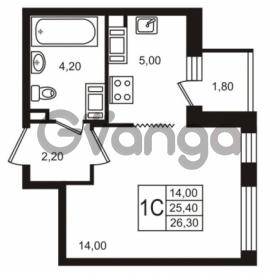 Продается квартира 1-ком 25.41 м² Бестужевская улица 5к 1, метро Лесная