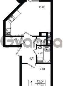 Продается квартира 1-ком 39.8 м² Оборонная улица 26, метро Девяткино
