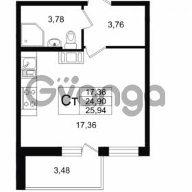 Продается квартира 1-ком 24.9 м² улица Шувалова 1, метро Девяткино