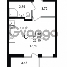 Продается квартира 1-ком 25.06 м² улица Шувалова 1, метро Девяткино