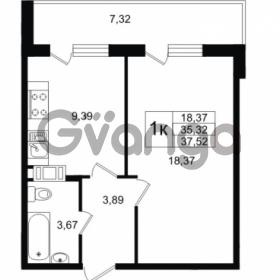 Продается квартира 1-ком 35.32 м² улица Шувалова 1, метро Девяткино