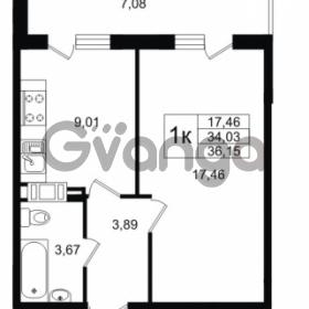 Продается квартира 1-ком 34.03 м² улица Шувалова 1, метро Девяткино