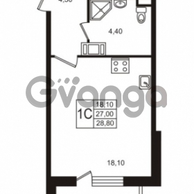 Продается квартира 1-ком 27.01 м² Бестужевская улица 5к 1, метро Лесная