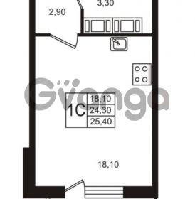Продается квартира 1-ком 24.31 м² Бестужевская улица 5к 1, метро Лесная