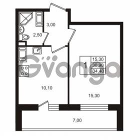 Продается квартира 1-ком 30.91 м² Бестужевская улица 5к 1, метро Лесная