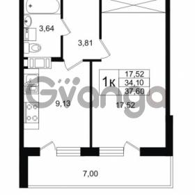 Продается квартира 1-ком 34.1 м² улица Шувалова 1, метро Девяткино