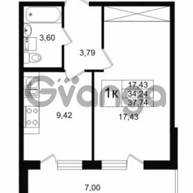 Продается квартира 1-ком 34.24 м² улица Шувалова 1, метро Девяткино