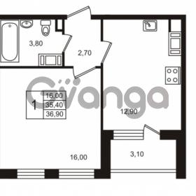 Продается квартира 1-ком 35.41 м² Бестужевская улица 5к 1, метро Лесная