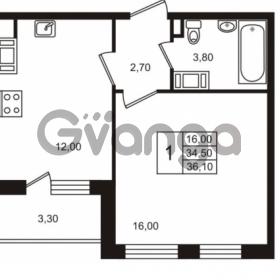 Продается квартира 1-ком 34.51 м² Бестужевская улица 5к 1, метро Лесная