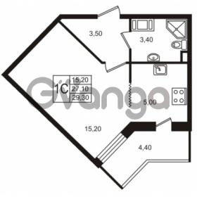 Продается квартира 1-ком 27.11 м² Бестужевская улица 5к 1, метро Лесная