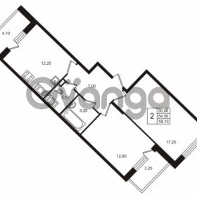 Продается квартира 2-ком 54.51 м² Бестужевская улица 5к 1, метро Лесная