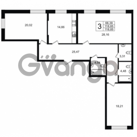 Продается квартира 3-ком 118.85 м² Приморский проспект 52, метро Старая деревня
