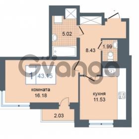 Продается квартира 1-ком 43.15 м² Дунайский проспект 7, метро Звёздная
