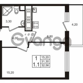 Продается квартира 1-ком 31.3 м² проспект Строителей 1, метро Улица Дыбенко
