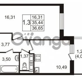 Продается квартира 1-ком 35.44 м² улица Пионерстроя 27, метро Проспект Ветеранов