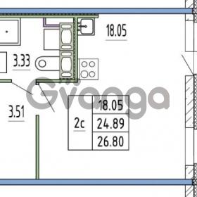 Продается квартира 1-ком 24.89 м² улица Пионерстроя 27, метро Проспект Ветеранов