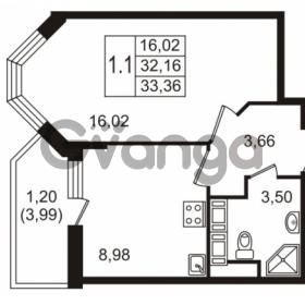 Продается квартира 1-ком 32.16 м² улица Пионерстроя 27, метро Проспект Ветеранов