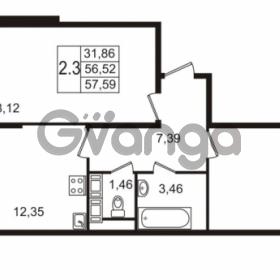 Продается квартира 2-ком 56.52 м² улица Пионерстроя 27, метро Проспект Ветеранов