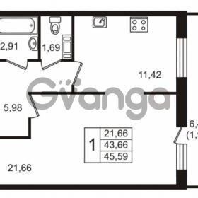 Продается квартира 1-ком 43.66 м² Голландская улица 3, метро Ладожская