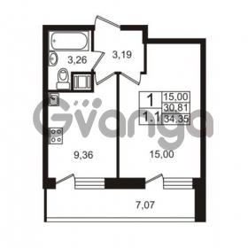 Продается квартира 1-ком 30.81 м² Немецкая улица 1, метро Улица Дыбенко