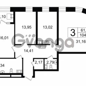 Продается квартира 3-ком 104.45 м² Новгородская улица 17, метро Чернышевская