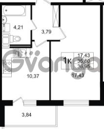 Продается квартира 1-ком 35.8 м² улица Шувалова 1, метро Девяткино