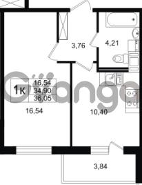 Продается квартира 1-ком 34.9 м² улица Шувалова 1, метро Девяткино