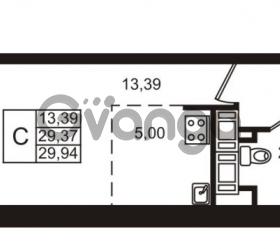 Продается квартира 1-ком 29.37 м² улица Катерников 1, метро Проспект Ветеранов