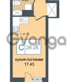Продается квартира 1-ком 26.28 м² Дунайский проспект 7, метро Звёздная