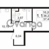 Продается квартира 1-ком 36.27 м² улица Адмирала Черокова 18к 3, метро Проспект Ветеранов