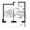 Продается квартира 1-ком 34.59 м² улица Адмирала Черокова 18к 3, метро Проспект Ветеранов