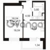 Продается квартира 1-ком 34.41 м² улица Адмирала Черокова 18к 3, метро Проспект Ветеранов