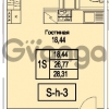 Продается квартира 1-ком 28.31 м² Питерский проспект 1, метро Проспект Ветеранов